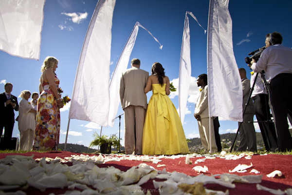 A colourful wedding.